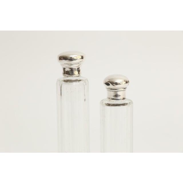 Art Deco Antique Sterling & Crystal Perfume Bottles, Set of 2 For Sale - Image 3 of 6