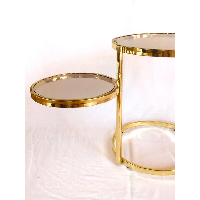 Hollywood Regency Brass and Smoked Glass Swivel Side Table by Dia, 1970's For Sale - Image 9 of 13