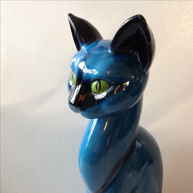 Mid-Century Modern Blue Ceramic Pottery Cat For Sale - Image 4 of 11