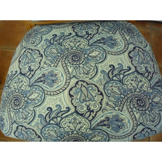 Vintage Blue Paisley French Provincial Armless Chair For Sale - Image 4 of 8