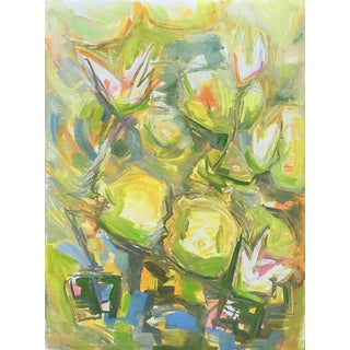 """White Waterlilies"" by Trixie Pitts Abstract Oil Painting For Sale"