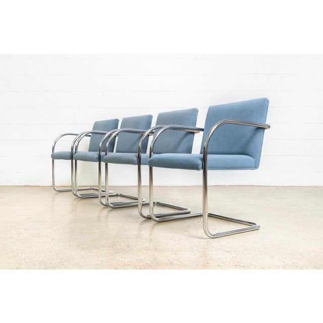 Contemporary Mies Van Der Rohe Blue Brno Dining Chairs For Sale - Image 3 of 11