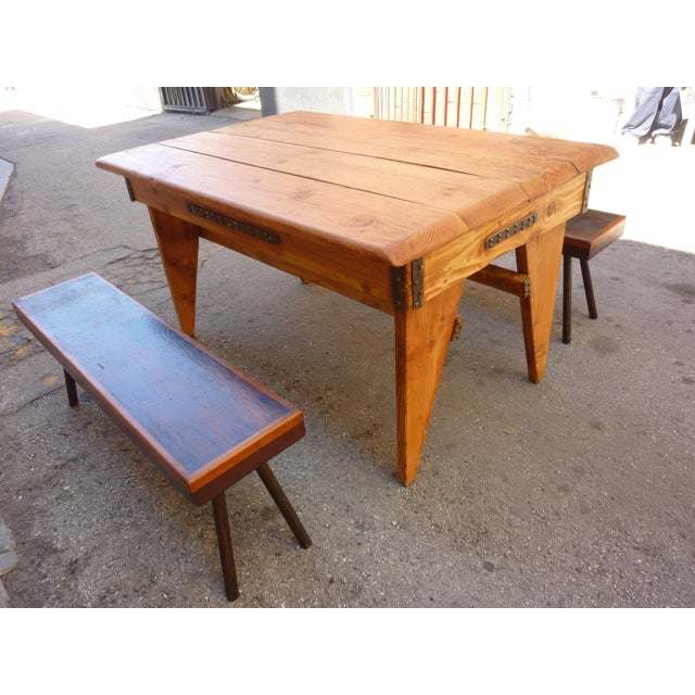 Shajan Table And Two Benches - Image 2 of 6