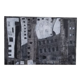 Contemporary Minimalist Abstract Mixed-Media Painting by Kelly Caldwell For Sale