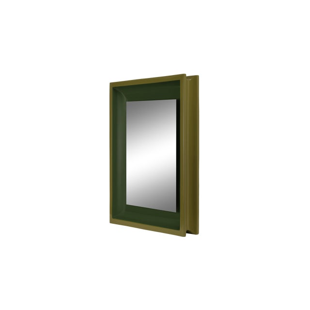 Jeffrey Bilhuber Collection Small Rectangular Floating Mirror in Light Olive / Dark Olive For Sale