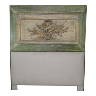 19th Century Vintage Queen Size Custom French Painted and Parcel Gilt Headboard For Sale
