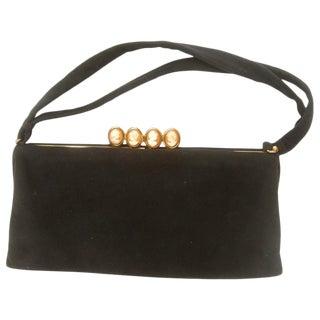 Italian Midnight Blue Suede Cameo Clasp Handbag Ca 1960 For Sale