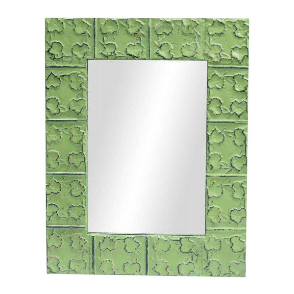 Cross & Leaves Lime Green Tin Mirror - Image 1 of 3
