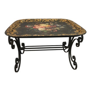 Floral Painted Tole Tray With Wrought Iron Stand