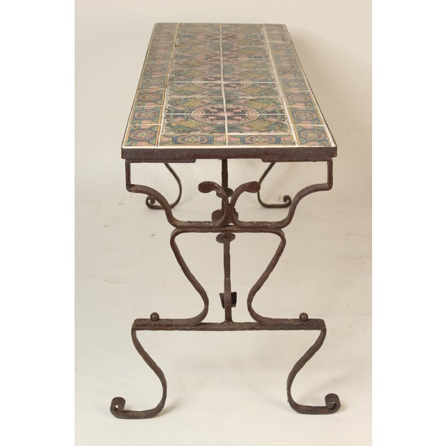 Baroque Spanish Tile Top Wrought Iron Patio Table For Sale - Image 3 of 13