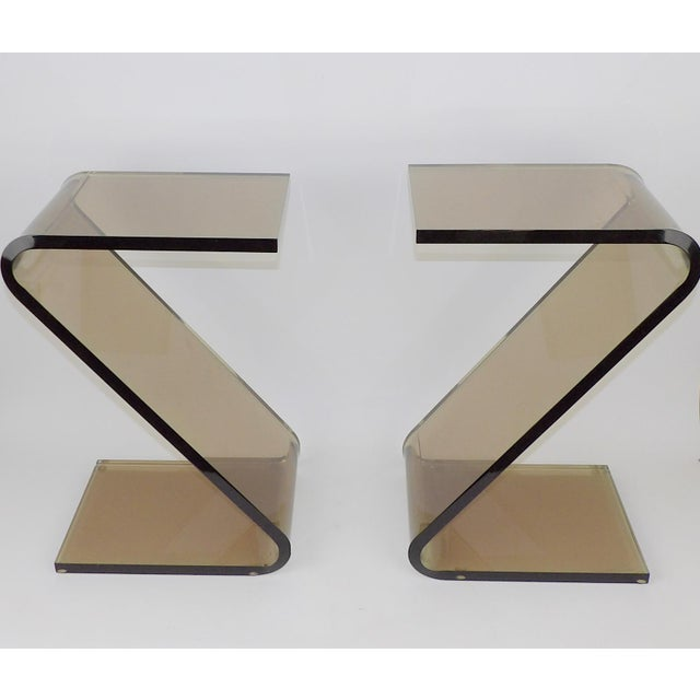 """Shlomi Haziza Acrylic Bent Lexan Lucite """"Z"""" End Tables / Nightstands - a Pair For Sale - Image 11 of 12"""