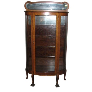 Curved Glass Front Oak China Cabinet