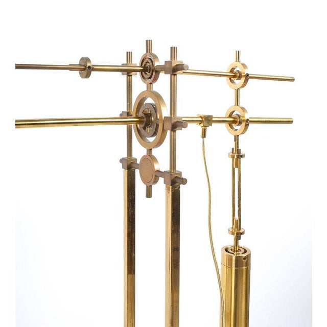 Nautical Brass Counterweight Floor Lamp, 1950 For Sale - Image 5 of 6
