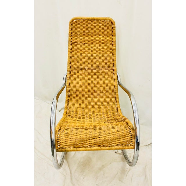 Brown Mid Century Modern Thonet Rocking Chair For Sale - Image 8 of 9