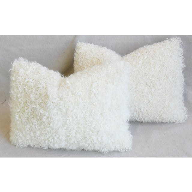 "White Ivory Natural Kalgan Curly Lambswool Fur Pillows 21 X 15"" - Pair For Sale - Image 8 of 13"