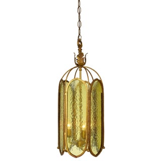 Caged Three Cluster Textured Glass Pendant Fixture