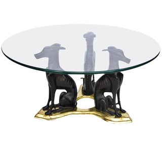 Maitland Smith Bronze Whippet Coffee Table For Sale
