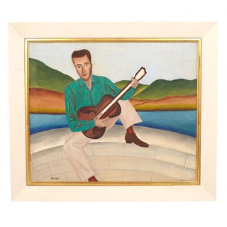 Folk Art Painting of Man with Guitar For Sale
