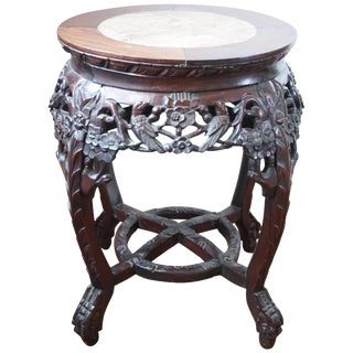 19th Century Chinese Rosewood and Marble Carved Stand, Qing Dynasty For Sale