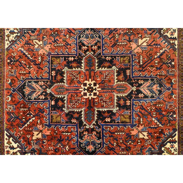 Vintage Persian Heriz Rug - 7'1'' X 9'5'' For Sale - Image 4 of 5