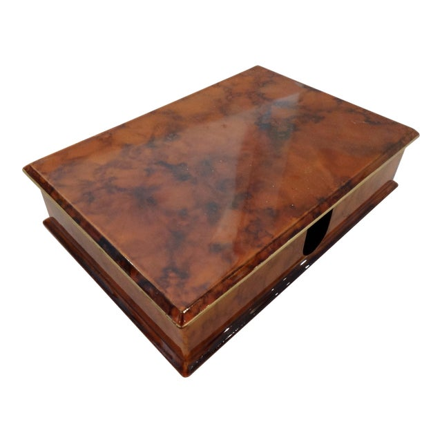 Faux Tortoise Shell Lacquer Desk Box - Image 1 of 10