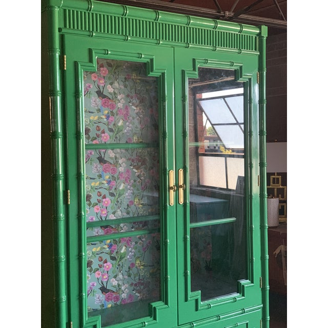 1960's Vintage Green Lacquered China Cabinet For Sale - Image 9 of 11