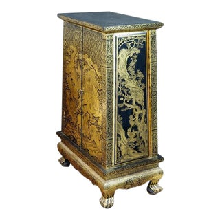 Stunning Thai Gold and Lacquer Decorated Teak Manuscript Cabinet For Sale