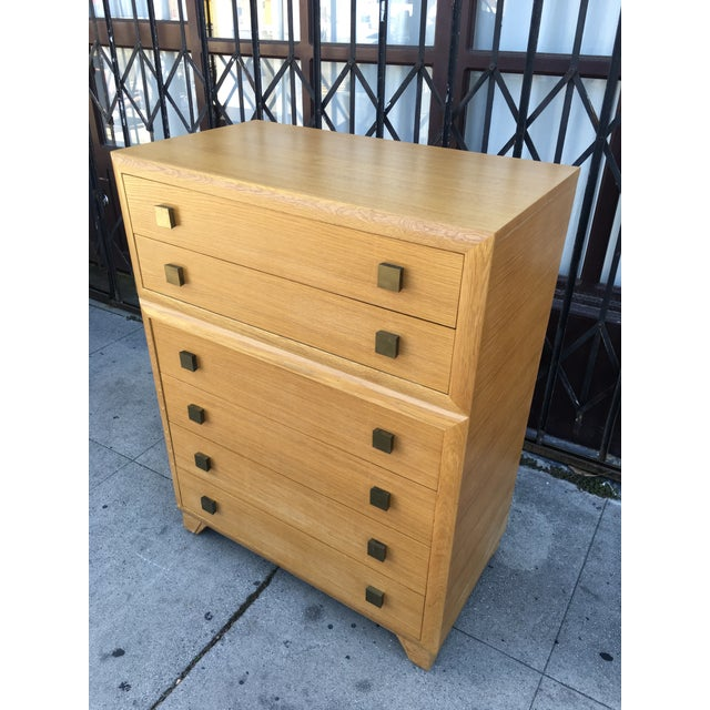 Art Deco 1940s Art Deco Oak Highboy Chest of Drawers For Sale - Image 3 of 13
