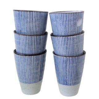 Vintage Japanese Ceramic Tall Glasses - Set of 6 Six Blue & White Stripes For Sale