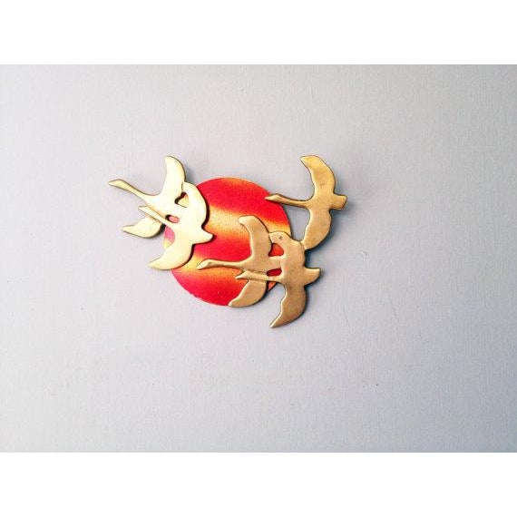 Vintage Brass Birds Wall Hanging - Image 2 of 4