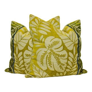 Green Chenille Cushions With Foliage Motif, of Green Pillow Cushions - a Pair For Sale
