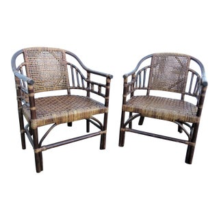 Mid 20th Century Rustic Style Rattan Club Chairs - a Pair For Sale