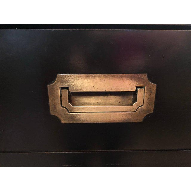 Gold Black Campaign Brass Accent Highboy Chest For Sale - Image 8 of 11