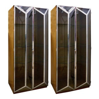 Bird's Eye Maple, Chrome & Glass Display Cabinets Attributed to Saporiti Italia For Sale