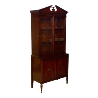 Vintage White Furniture Flame Mahogany Brass Eagle China Display Cabinet For Sale