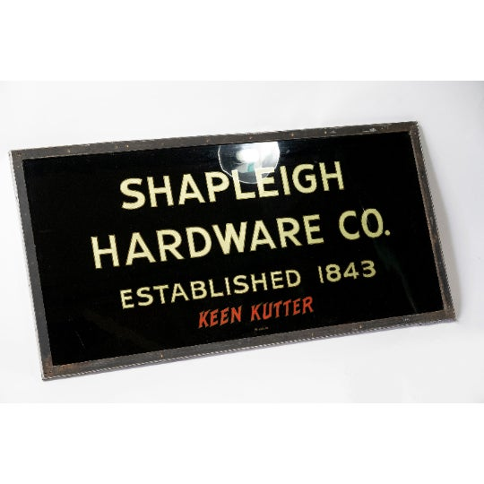 American 1900 Vintage Turn of the Century Gilded Reverse Painted Glass Trade Sign by Shapleigh Hardware Company For Sale - Image 3 of 7