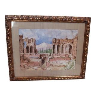 Vintage Watercolor of Roman Theater, Taormina