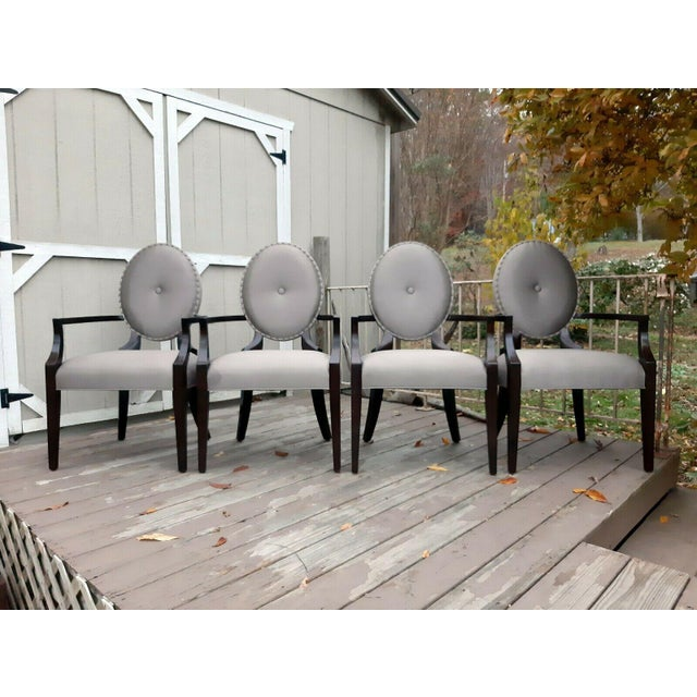 Bernhardt Jet Set Center Button Tufting Arm Chairs - Set of 4 For Sale - Image 13 of 13