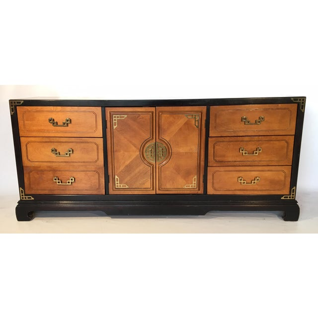 Asian Bassett Hollywood Regency Asian Chinoiserie 9 Drawer Dresser For Sale - Image 3 of 7
