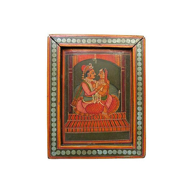 Hand-Painted India Wood Box For Sale