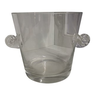 Tiffany & Co. Crystal Scroll Handle Signed Wine/Ice Bucket For Sale