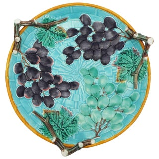 19th CenturyVictoria Majolica Grapes Serving Handled Platter For Sale