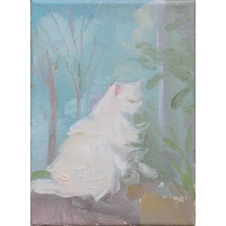 White Cat Oil Painting on Canvas by Michelle Farro For Sale