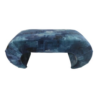 1960s Abstract Karl Springer Style Blue Velvet Waterfall Bench For Sale