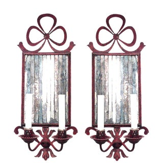 French Victorian Style Red Tole Bow Knot Wall Sconces - a Pair For Sale
