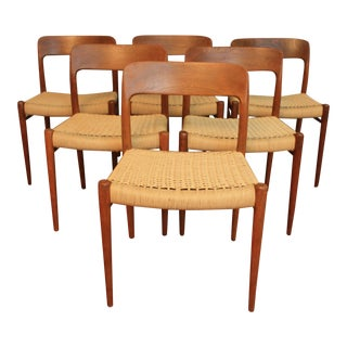 Niels Moller #75 Teak Chairs - Set of 6 For Sale