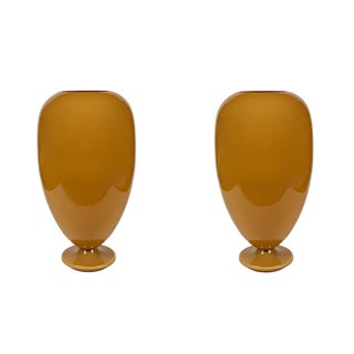 Amber Murano Glass Lighted Urn Shape Lamps - a Pair For Sale