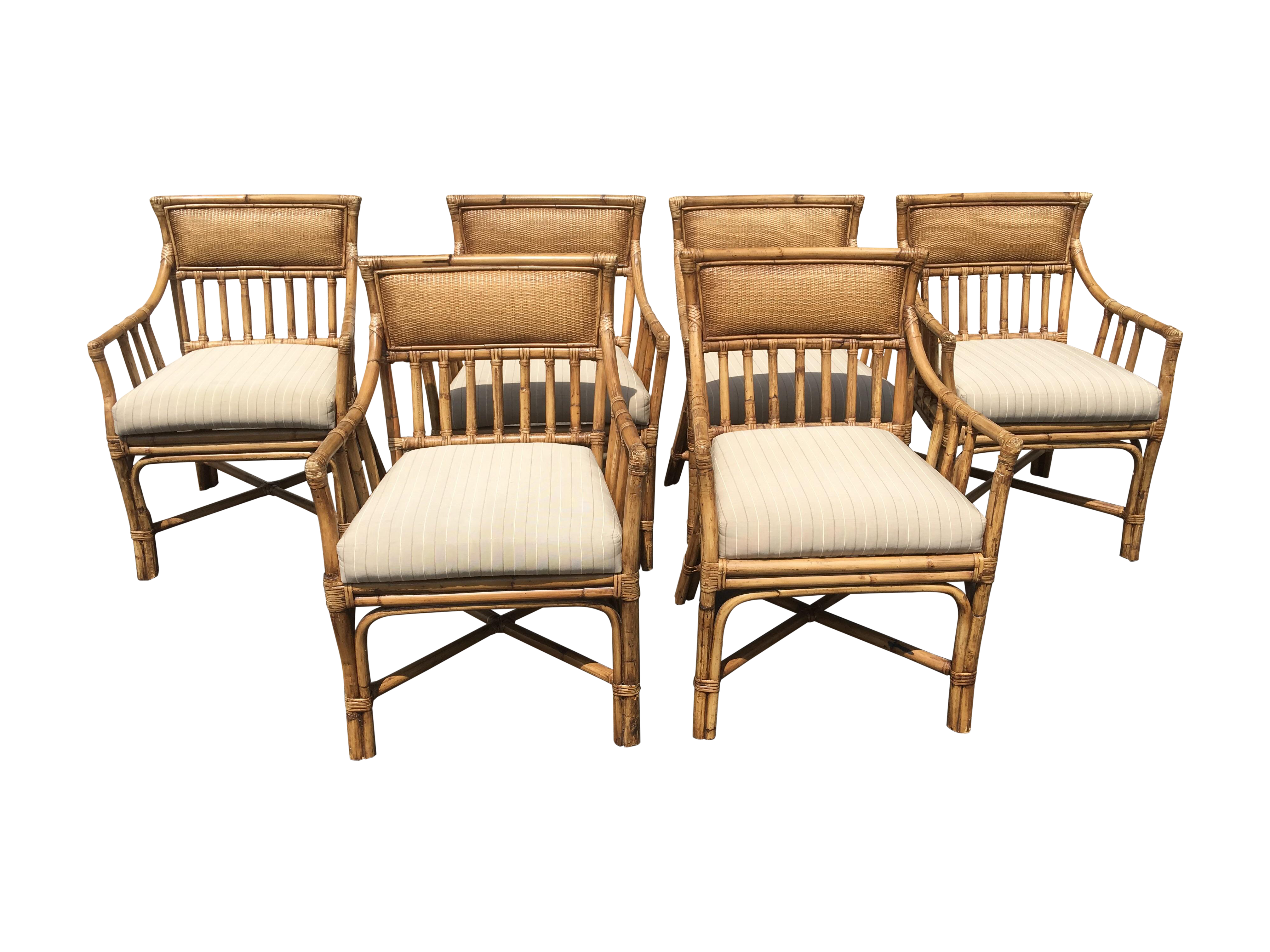 Palecek Bamboo Dining Chairs   Set Of 6