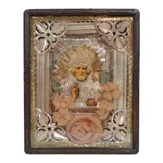 Antique Russian Icon of Saint Nicholas in Repousse Overlay