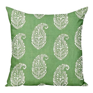 Peter Dunham Large Kashmir Paisley Outdoor Pillow Cover, Green For Sale
